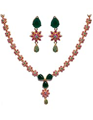 Gehna Pear Shape Emerald Stone Studded Necklace Set Made In Silver Alloyed Metal