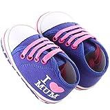 waylongplus Lienzo infantil Prewalker suave Suela antideslizante zapatos de cuna I Love Mum Dad Impresión Slip-On Zapatillas azul Dark Blue Mum Talla:11 (3-6 Months)