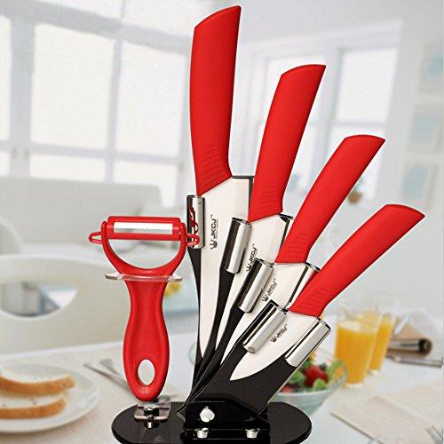 Amfocus 5-Pieces Ceramic Cutlery Knife Block Set with Fruit Peeler, Red