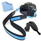 GTMax Blue Anti-Slip Soft Neoprene Shoulder/Neck Strap + Hand Strap + Cloth for FujiFilm S4200 S4500 S4600 S4700 S4800 S6800 S6600 S6700 S8200 S8300 S8400W S8400 S8500 HS20EXR HS25EXR HS28EXR HS30EXR HS50EXR