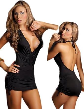 Amazon com tight black dress sexy open back style extra large