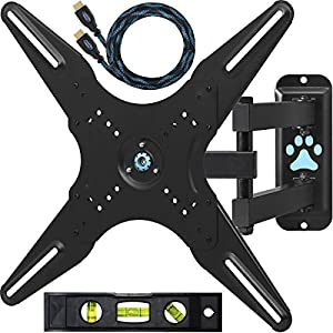 """Cheetah Mounts ALAMLB Articulating Arm (20"""" Extension) TV Wall Mount Bracket for 23-49"""" (and some TVs up to 55"""") LCD, LED and Plasma Flat Screen TVs up to VESA 400x400 and 66lbs , with full Ballhead Tilt, Swivel, and Rotation Motion, Including a Twisted Veins 10' Braided High Speed with Ethernet HDMI Cable and One 6"""" 3-Axis Magnetic Bubble Level"""