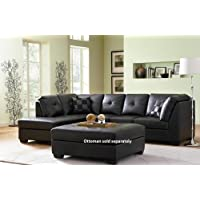 Coaster Contemporary Black Bonded Leather Sectional Sofa Left Side Chaise