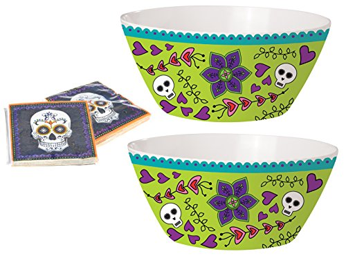 Halloween Party Day of the Dead Melamine Serving Dish Bowl with Napkins ()
