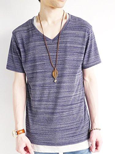 (モノマート) MONO-MART Vネック カットソー フライス ストレッチ Tシャツ 色 サマー デザイン メンズ
