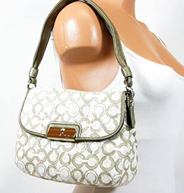 Amazon.com: Coach Kristin Sequin Op Art Top Handle Pouch Handbag ...