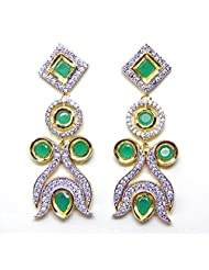 Emerald Green Kundan Style Long Earrings By BeYou