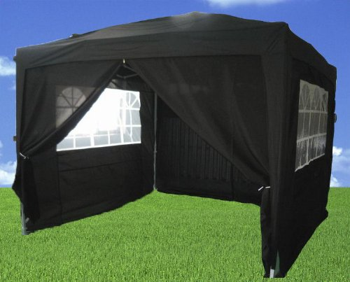 Heavy Duty 100% Waterproof 3m x 3m Gazebo Marquee Awning Party Tent Canopy Black 260g Polyster Steel Frame