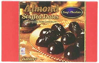 Lang's Chocolates Dark Chocolate Almond Stuffed Dates Certified Kosher-dairy and Halal, 12-Count Packages (Pack of 2)