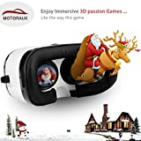Upgrade Version 3d Vr Virtual Reality Glasses Motoraux ® Movie Visor 3D Vr Virtual Reality Glasses Innovative Design Fit for iOS, Android & PC phones Series within 4.0-5.9inches