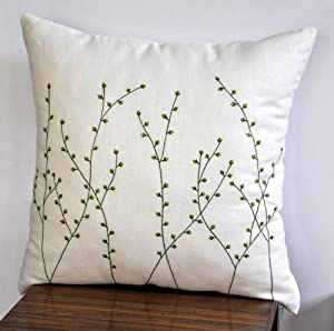 Amazon.com - Pussy Willow Pillow Cover, Decorative Pillow Cover, Cream