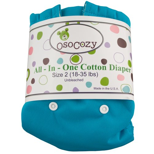 OsoCozy All in One Cloth Diaper - Unbleached - Snap - Blue - Size 1