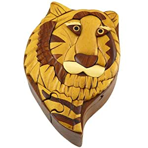 : Tiger Head Handmade Carved Wood Intarsia Puzzle Box: Home & Kitchen
