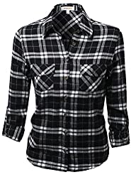Awesome21 Women's Flannel Plaid Check…