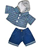 "Skater Hoodie w/Denim Pants Teddy Bear Clothes Outfit Fits Most 14"" - 18"" Build-a-bear, Vermont Teddy Bears, and Make Your Own Stuffed Animals"