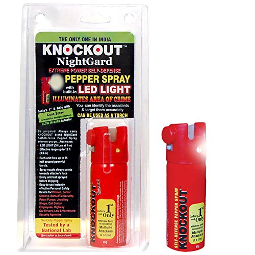 Extremely Strong Knockout Pepper Spray with Built In LED Torch and Glow In Dark Trigger