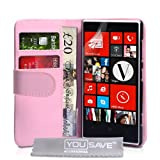 Yousave Accessories PU Leather Wallet Cover for Nokia Lumia 720 - Baby Pink