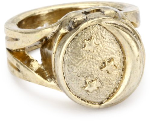 Low Luv by Erin Wasson Moon and Stars Gold Locket Ring, Size 7