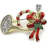 Christmas Pin Trumpet Horn Red Ribbon Mistletoe Brooch Winter Holiday