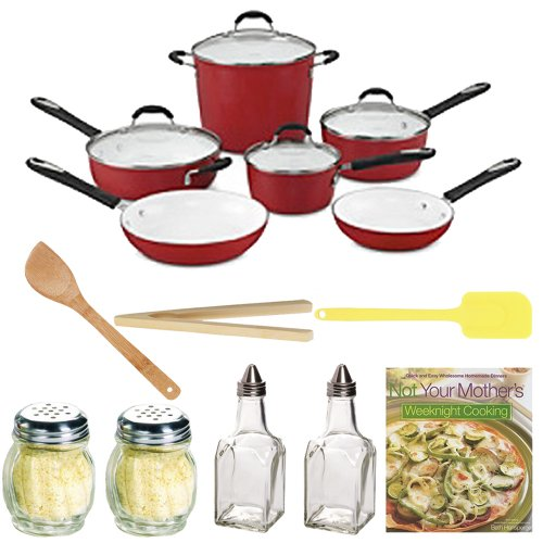 Cuisinart 59-10R Elements Nonstick 10-Piece Cookware Set, Red With Not Your Mother'S Weeknight Cooking + Kitchenware Accessory Kit