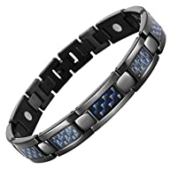 Willis Judd Mens Black Titanium Magnetic Bracelet Blue Carbon Fibre in Black Velvet Box Link Removal…