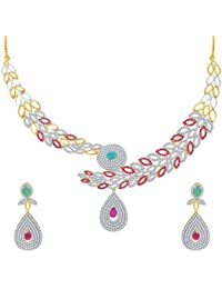 Sukkhi Marvellous Ruby And Emerald Studded Gold And Rhodium Plated CZ Necklace Set For Women