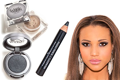 Complete Smokey Eye Kit - Alexis Vogel Sexy Eye Candy Kit - Contains Pudgy Eyeliner Pencil, Velvet Eyeshadow, and Glow Dust Highlighter Powder - Long Lasting, High Pigment Colors (Loreal Dark Sides Of Gray compare prices)