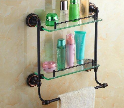 Double Tier Oil Rubbed Bronze Bathroom Glass Shelf