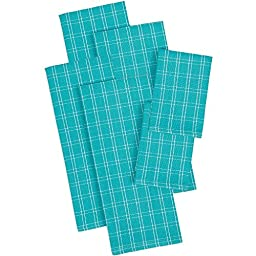 6 Piece Julep Napkin, (Set Of 6), Machine Washable, Solid Pattern, Casual And Contemporary Style, Dishtowels, Everyday Or Special Occasions, Cotton Material, Charcoal, Turquoise