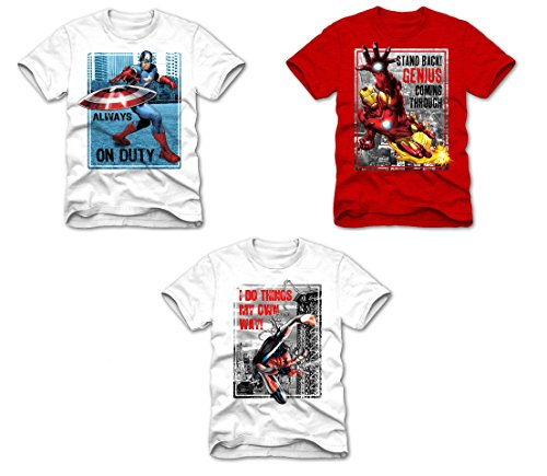 Superhero Marvel T- Shirts for Boys, Pack of 3 (Small (6/7), Spiderman I Do Things, White + Ironman Stand Back, Red + Captain America Always on Duty, White)