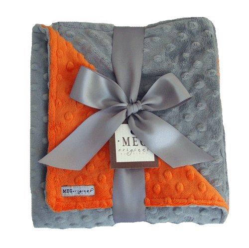 MEG Original Orange & Gray Minky Dot Baby/Infant Blanket
