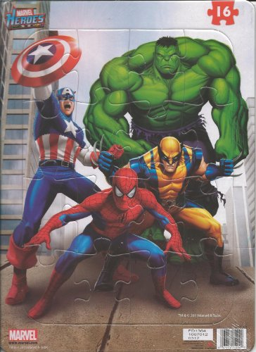 Marvel Heroes 16 Piece Tray Jigsaw Puzzle (Captain America, Hulk, Spider-Man, & Wolverine) - 1
