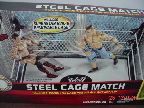 Mattel WWE Wrestling Exclusive Ring Steel Cage Match Includes John Cena The Miz Action Figures at Sears.com