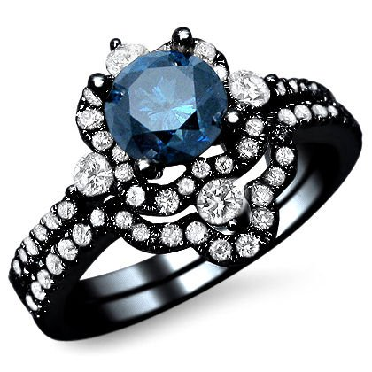 1.24Ct Fancy Blue Round Diamond Engagement Ring Bridal Set 18K Black Gold Rhodium Plating Over White Gold With A .65Ct Center Diamond And .90Ct Of Surrounding Diamonds