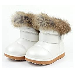 JYD NEW Babys Unisex Infant Kids Toddler Flat Winter Fur Boots Shoes Sz 5-12 5.5(Length:5\