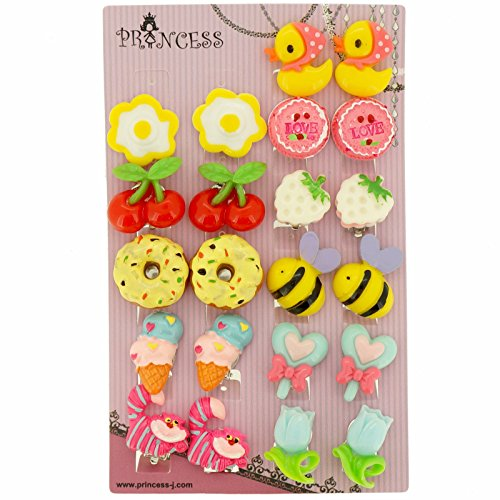 Big Size Generic Cute Lovely Cute Design Fashion Clip-on Earrings, Pack of 11 Pairs (Clip On Earrings For Kids compare prices)