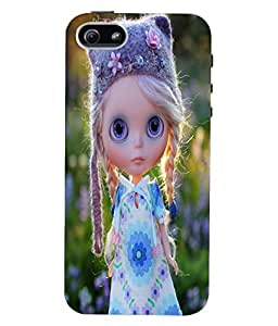 Fuson 3D Printed Cute Doll Designer Back Case Cover for Apple iPhone 5S - D742