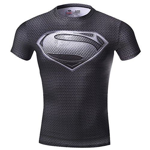 Cody Lundin® Movie Theme Superhero Uomo Sport Manica Corta Tee Fitness Compressione Shirt (M, Superman)