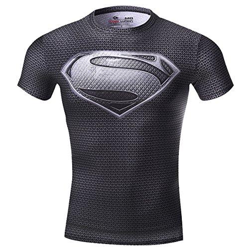 Cody Lundin maschile Compressione di super eroe fitness t-shirt uomo jogging movimento gestito manica corta (XXL, black) (M, black)
