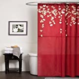 Nceonshop(TM) Lush Decor Flower Drop Shower Curtain, 72-Inch by 72-Inch, Red New