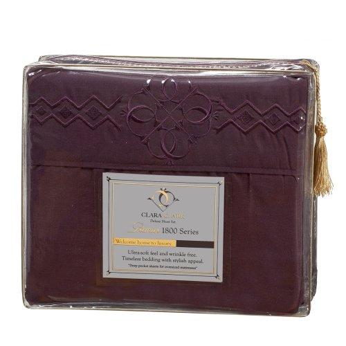 Ultimate Clara Clark Premier 1800 Bed Sheet Set - With Majestic Embroidery - Queen Size, Purple Eggplant front-755654