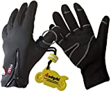 Andyshi Mens Winter Outdoor Cycling Glove Touchscreen Gloves for Smart Phone L Black