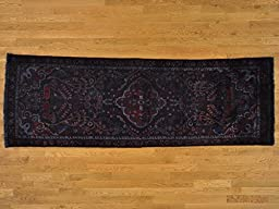 3\'x9\' Runner Worn Overdyed Persian Lilahan Deers Hand Knotted Oriental Rug G20955