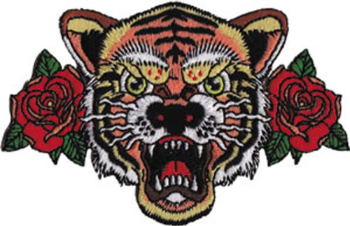 Application Tattoo Tiger And Rose Patch
