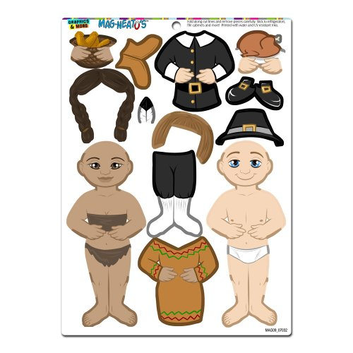 Graphics and More 'Thanksgiving Pilgrim and Indian Dress-Up' MAG-NEATO'S Novelty Gift Locker Refrigerator Vinyl Magnet Set (Refrigerator Magnets Paper Doll compare prices)
