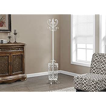 Monarch Specialties I 2043 Antique White Metal Coat Rack, 72""