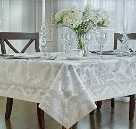 Waterford Damascus White Oblong Tablecloth