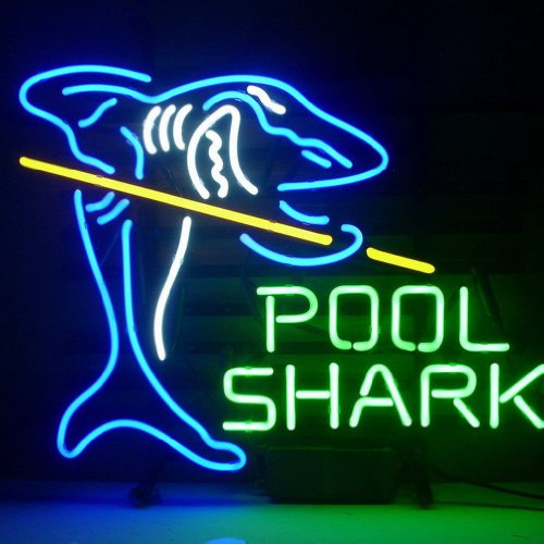 Hozer Professional 17*14 Pool Shark Design Decorate Neon Light Sign Store Display Beer Bar Sign Real Neon Signboard For Restaurant Convenience Store Bar Billiards Shops