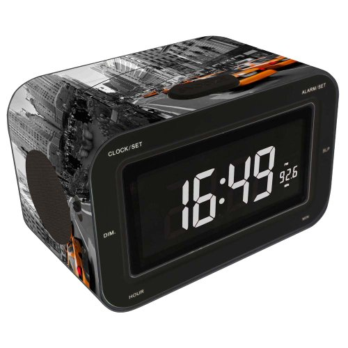 Bigben Interactive RR30NY2 KIDS Radio Sveglia AM/FM, Display LCD, Motivo NY, Nero