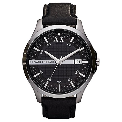 Armani Exchange AX2101 47mm Stainless Steel Case Black Leather Mineral Men's Watch